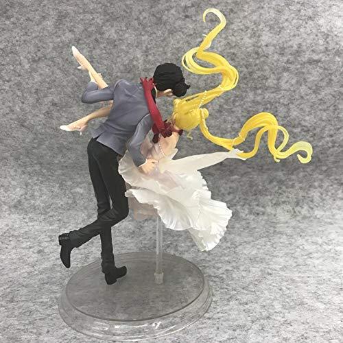 No Alto 24 CM Sailor Moon Moon Hare Masquerade Ball Gown Máscara Escultura en Caja enmascarada Regalo Modelo Obra de Arte Anime