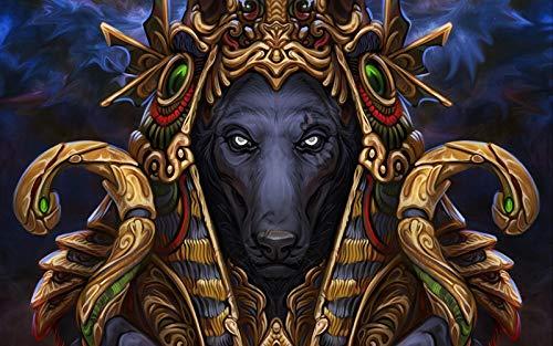 nonbranded Bricolaje Decoración del hogar Pintura al óleo Digital Manual Pintura en Color Adultos Niños Kits de Pintura Decoraciones para el hogar Lobo Faraón Arte Deidad Mythica
