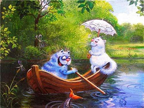 NR Pintar por números Kit de Bricolaje Pintura al óleo Dibujo Gato Animal a Bordo Lienzo con Pinceles Decoración Decoraciones Regalos 40x50cm Sin Marco