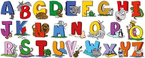 NSWZX Rompecabezas de Madera del Alfabeto inglés, Rompecabezas de 1000 Piezas, Pegatinas de Arte Letras de ABC Animales Dibujos Animados Habitación de niños