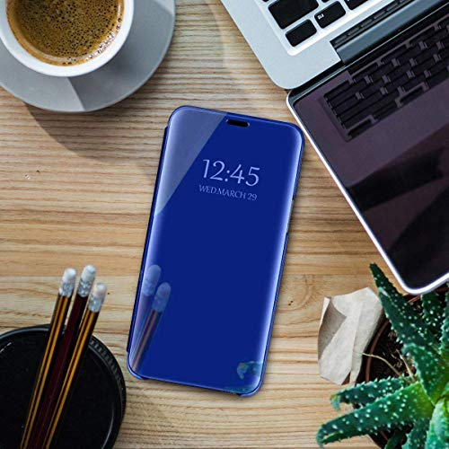 Oihxse Espejo Funda Compatible con Xiaomi Redmi Note 8 Pro Carcasa Ultra Slim Mirror Flip Translúcido View Tipo Libro Tapa Standing 360°Protectora PC + PU Cover Anti-Scratch Caso(Azul)