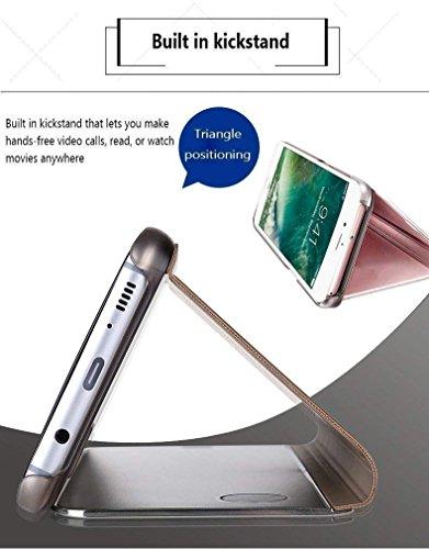 Okssud Funda Huawei Mate 20 Pro Espejo,Wallet Carcasa Mate 20 Pro Cuero Azul,Bling Brillo Billetera Mirror Espejo Clear View Flip Wallet PU Slim Antigolpes Case