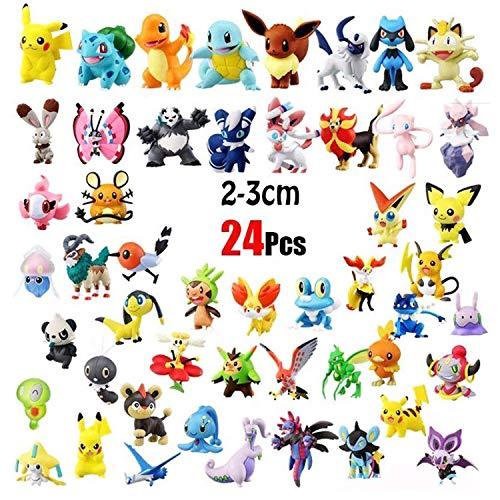 OMZGXGOD 24 Piezas Pokemon Monster Mini Figure 2-3cm in Random+12 Piezas Pulsera de Silicona,Fiesta para niños y Adultos