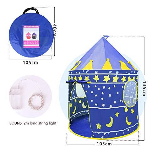 Opret Tienda para Niños Pop Up Carpa Plegable para Niñas Carpa Auzl con Bolsa de Transporte y Luz de Cadena para Interiores y Exteriores