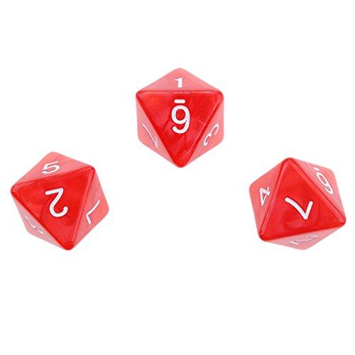 P Prettyia 20 Unids Dados Poliédricos 8 Caras Dice Rojo Juego para Amigo Familiar