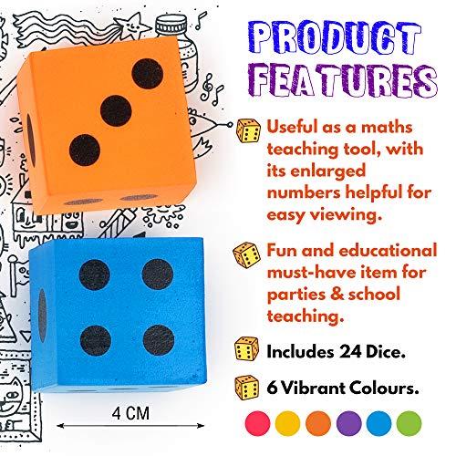 Paquete Jumbo de 24 Dados de Espuma - 6 Colores Surtidos - Ideales para juegos de mesa, - Artículos educativos y más. Relleno piñata, niños fiesta regalo juguetes bolsas - Regalos de fiesta de Navidad