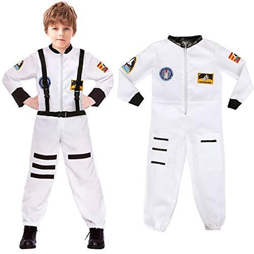 Patrones de costura para infantil con forma de Astronaut disfraz infantil de para cuarto disfraz de kimono de disfraz infantil de traje espacial Cosplay de noche de brujas, White, Large