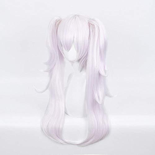 peluca cosplay cola de caballo doble clip de boca de tigre peluca rosa púrpura damas peluca de modelado de anime