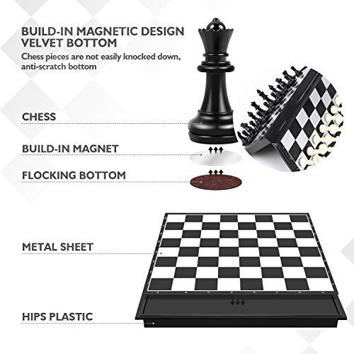 Peradix Tablero Ajedrez Magnético,Juego de ajedrez de Rompecabezas 25 X 25CM Plegable y fácil de Llevar,Juego ajedrez para niños y Adultos, Juegos al Aire Libre o Regalos