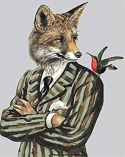 Pintura por números DIY Pintura al óleo digital Mr. Wolf Kit de pintura para niños y adultos Decoración de pintura Artesanía Artes 40 x 50 cm