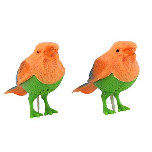 Pinzhi El Control Plástico de la Voz Del Sonido 2Pcs Activa Los Pájaros Cantantes del Canto Que Juegan el Regalo del Juguete
