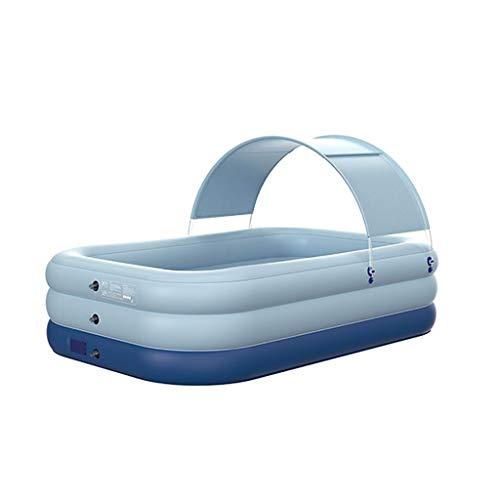 Piscina Inflable con el pabellón, al Aire Libre Grande Inflable Poolfor niños y Adultos, Piscina Azul for el Patio Trasero/Jardín/Patio de Agua Verano Juego Partido (tamaño : 210×150×68cm)