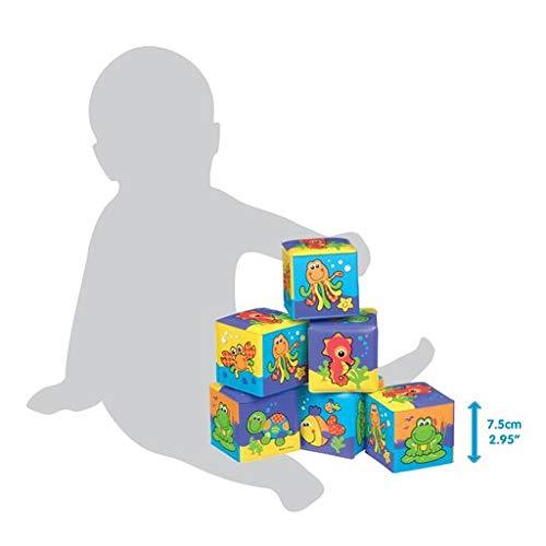 Playgro Cubos Blandos para el Baño, 6 Piezas, Con Animales Multicolores, Desde los 6 Meses, Dimensiones: 7 x 7cm, Multicolor, 40093