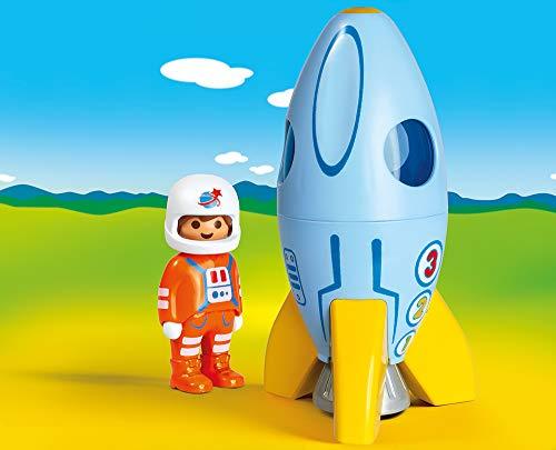 PLAYMOBIL- 1.2.3 Astronauta con Cohete, Color carbón (70186)