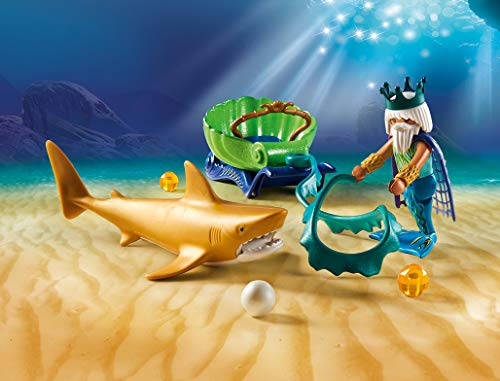 PLAYMOBIL Magic Rey del mar carruaje, Color carbón (70097)