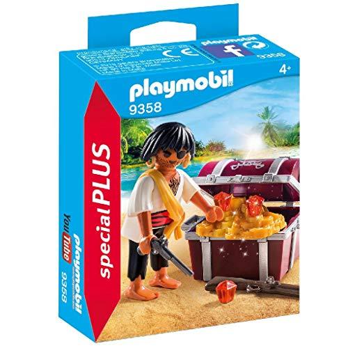 PLAYMOBIL- Pirata con Cofre del Tesoro Juguete, Multicolor (geobra Brandstätter 9358)