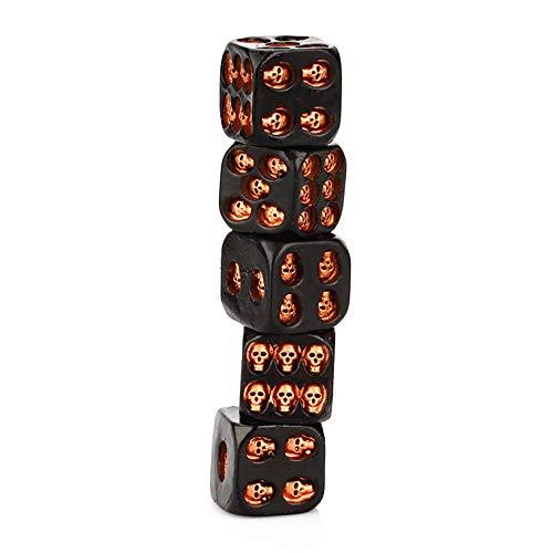 plhzh 5 Unids/Set Resina Creativa Calavera Dados Estatua Halloween Juego De Mesa Oficina Escritorio Decoración Juguete Fiesta Decoración Huesos Seis Lados Esqueleto Dados Club Pub Juego