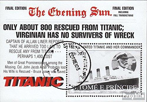 Prophila Collection Sao Tome e príncipe Block376 (Completa.edición.) 1998 Puesta de Sol el Titanic (Sellos para los coleccionistas) Marinero