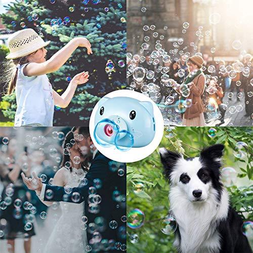 PsgWXL Máquina de Burbujas Portátil con Correa de Cámara para Uso en Interiores o Exteriores Juguete Burbujas Jardin Lindo Cerdo con Luces y Musica,Azul