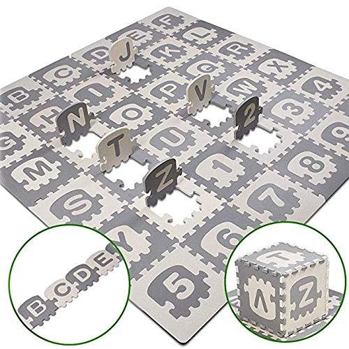 Puzzle Play Mat para Niños En Edad Preescolar Boys Girls, Baby Foam Playmat Activity Mat Play Gym Play, 36 Piezas Blanco Gris, Tren, Números, Letras, Fácil De Limpiar, No Tóxico
