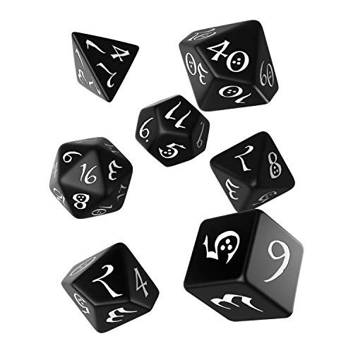 Q Workshop Classic Black & White RPG Ornamented Dice Set 7 polyhedral Pieces