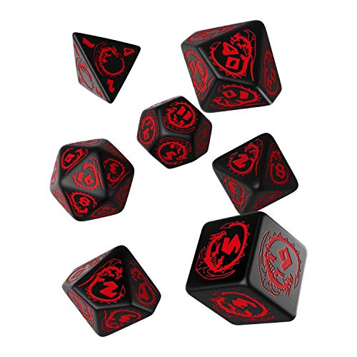 Q-Workshop Dados de Dragones (Negro-rojo)