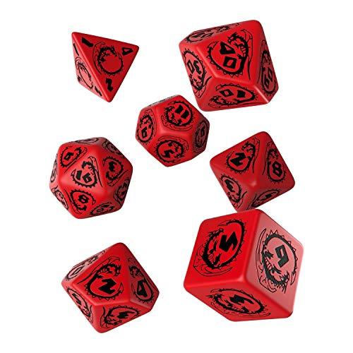 Q Workshop Dragon Red & Black RPG Ornamented Dice Set 7 Polyhedral Pieces