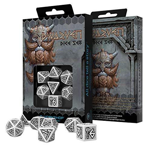 Q Workshop Dwarven White & Black RPG Ornamented Dice Set 7 Polyhedral Pieces