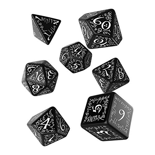 Q Workshop Elvish Black & White RPG Ornamented Dice Set 7 Polyhedral Pieces
