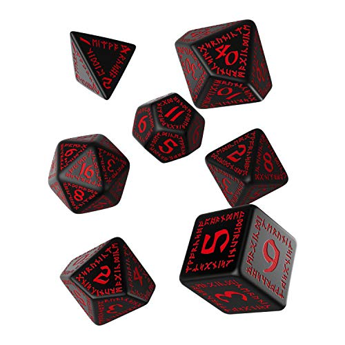 Q Workshop Runic Black & Red RPG Dice Set 7 Polyhedral Pieces