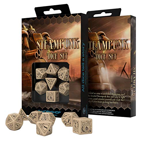 Q Workshop Steampunk Beige & Black RPG Dice Set 7 Polyhedral Pieces