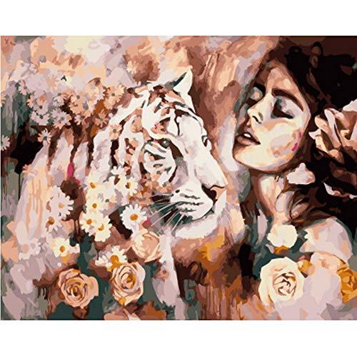 QAZZSF Cuadro Sin Marco DIY Pintura Al Óleo por Números Decoración De Pared Pintura sobre Lienzo para Decoración para El Hogar Dama con Tigre 40X50CM