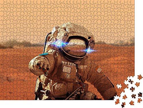 QBTE Puzzle 1000 Piezas El Astronauta Camina por el Planeta Rojo Marte.Misión Espacial.Los astronautas viajan en el Espacio