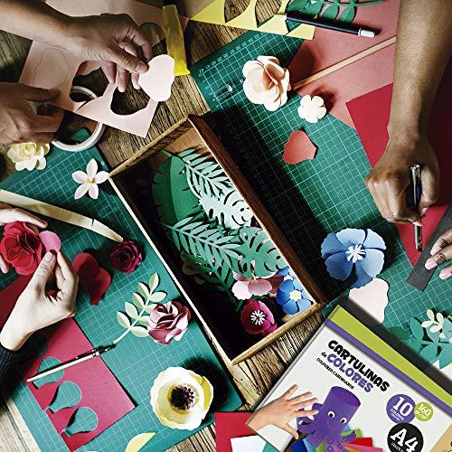 Quijote Paper World Pack 2 Blocs de Papel, Cartulinas, Hojas de colores, Papel Manuladidades, 20 Hojas A4, 160gr/m² para Manualidades, Dibujo, Diseños,etc. 10 colores