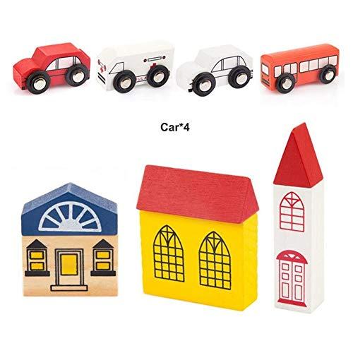 RANRANJJ Bloques de construcción de madera para niños pequeños - Juego de madera maciza colorida de Little Town - Rompecabezas con forma de rompecabezas - 40 piezas que incluyen personas, automóviles,