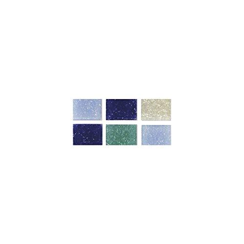 Rayher Piedras de Mosaico, Tonos-Azules, 1x1cm, (Aprox. 1300 Unidades), Cubo 1Kg