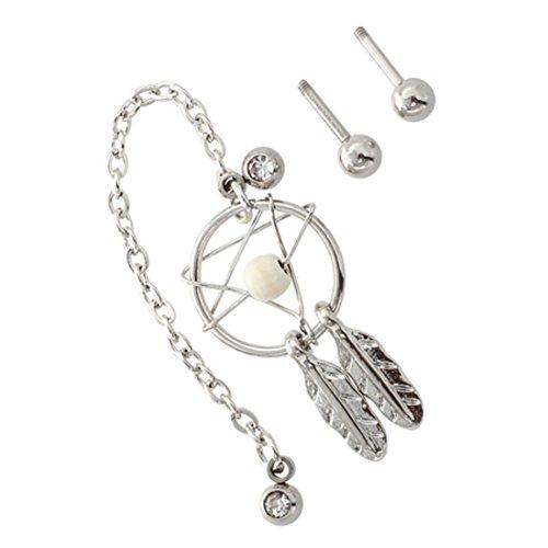 REFURBISHHOUSE Perforacinon de Oreja de Puno de Estrella Pendiente colgado de Cartilago Aretes - Blanco