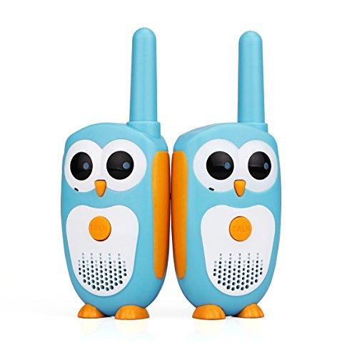 Retevis RT30 Walkie Talkie Niños Apariencia de Búho Indicador LED Operación Simple 1 Canales 2 Botones Mini Walkie Talkie Juguetes Regalo para Niñas (Azul, 1 par)