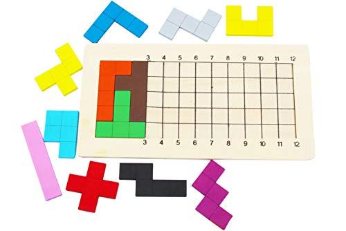 Rompecabezas de madera Pentominoes Tangram Juegos de mente para niños Adultos - Juego de mesa familiar de juguetes de madera durante 6 años - Smart Math Games Brainteaser Puzzle IQ