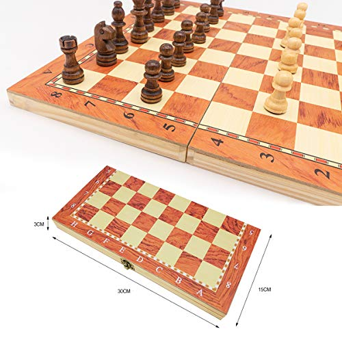 rparty Ajedrez de Madera 3 en 1 Plegable, Magnético,Tablero de Ajedrez 30X30 cm