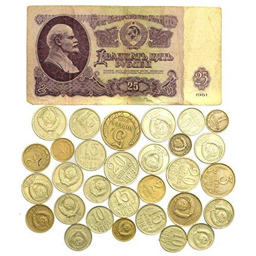 RUBLO DE URSS DE 1961 + 30 KOPEKS. Ruso CCCP Guerra fría Soviética Dinero colección Lote (Billete de 25 rublos)