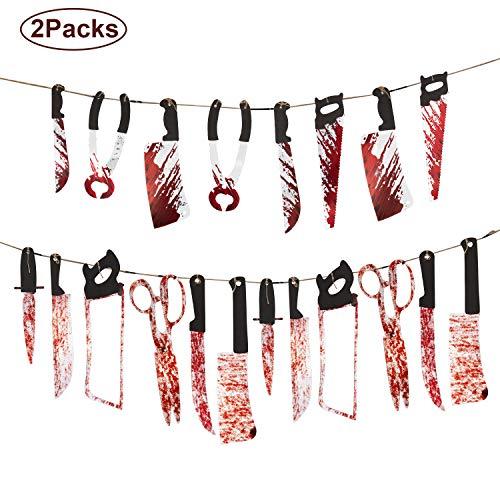 SAVITA 2 Paquetes Halloween Sangriento Decoración de Armas Banners de Armas Apoyos de la Guirnalda Suministros para la Fiesta (8 unids, 12 unids)