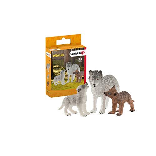 Schleich- Set de Figuras Cachorros, Colección Wild Life, Loba Gris + Lobezno marrón (42472)