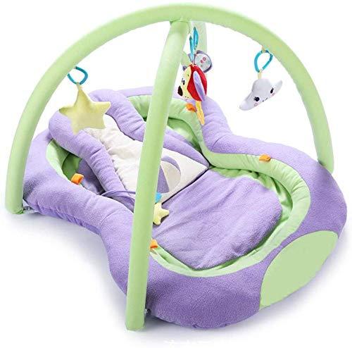 SCLL Play Bow Play Mat para bebés con Almohadas, Juguetes Colgantes y música educación temprana súper Suave para niños y niñas recién Nacidos, 0-12 Meses, Estable, Rosa, Morado