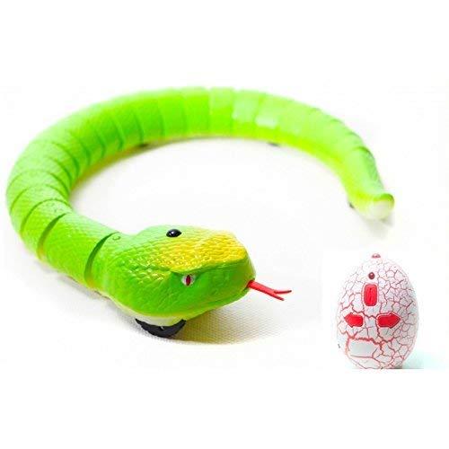 Serpiente Teledirigida de Juguete Radiocontrol RC con Movimiento de Lengua | Regalo Animales Robotica para Niños (Verde)