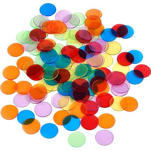 Shappy 120 Piezas de Contador de Color Transparente Marcador de Plástico Chips Bingo con Bolsa de Almacenaje