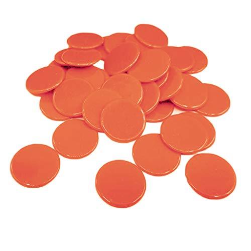 Sharplace 100pcs Fichas de Póker Chips Monedas Color Sólido Juego Familiar - Naranja