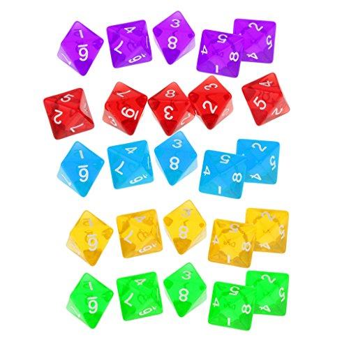 Sharplace 5 Piezas Dados de 8 Caras Juguete Educativo Matemática Juego de Mesa TRGP - Rojo