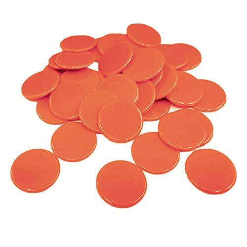 sharprepublic 100x Fichas de Póker Plástico Juego de Bingo Suministro de Casino - Naranja
