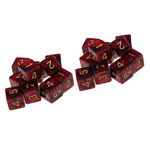 sharprepublic 20 Unidades Juego de Mesa Dados de 6 Caras Plástico Color Translúcido para Aprendizaje de Matemáticas, Casinos